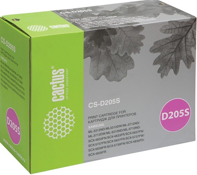 Картридж Cactus D205S (CS-D205S) для принтеров Samsung ML-3310D/ 3310ND/ 3710D/ 3710ND/ SCX-4833FD/ 4833FR/ 5637FR черный 2000 страниц