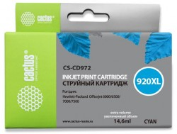Картридж струйный Cactus CS-CD972 №920XL синий (10.5мл) для HP DJ 6000/6500/7000/7500