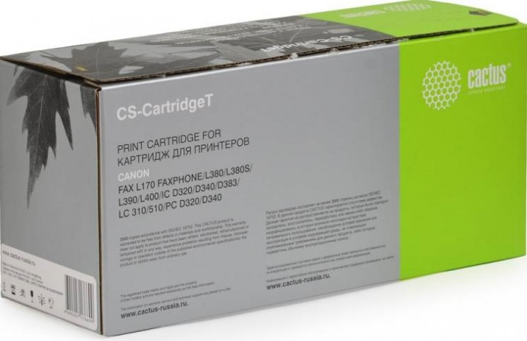 Картридж Cactus Cartridge T (CS-CARTRIDGET) для принтеров Canon L170/ L380/ L380S/ L390/ L400/ IC D320/ D340/ D383/ LC 310/ 510/ PC D320/ D340 черный 3500 страниц