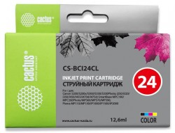 Картридж струйный Cactus CS-BCI24CL многоцветный (12.6мл) для Canon S200/S200x/S300/S330/S330/Photo i250/i320/i350/i450/i455/i470D/i475D/SmartBase MPC190/200 Photo/MP360/370/390/Pixma MP110/130/iP1000/iP1500/iP2000